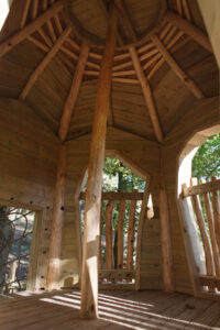Inside of the roof at Tumblestone Hollow Play at Stonor Park Oxfordshire