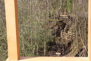 Looking across the Ironbridge Gorge to the steps beyond