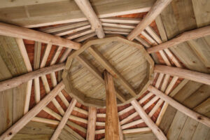 Looking upwards at the roof detail within Tumblestone Hollow Play at Stonor Park Oxfordshire