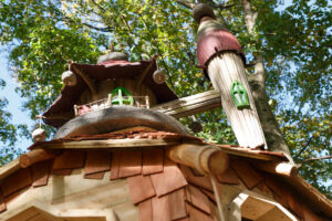 Roof detail on the central tower at Tumblestone Hollow Play at Stonor Park Oxfordshire