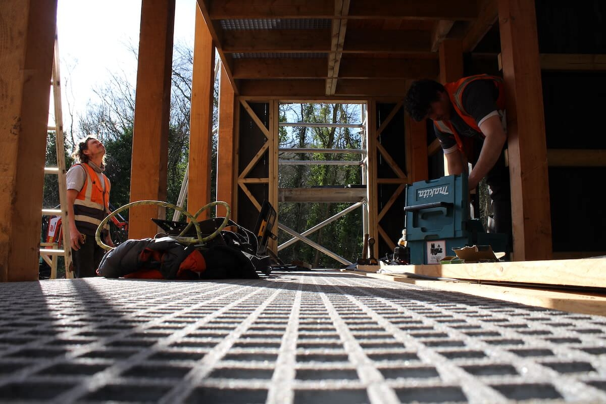 The finished floor in place at the Madeley Wood Company Adventure play at Blists Hill Victorian Village