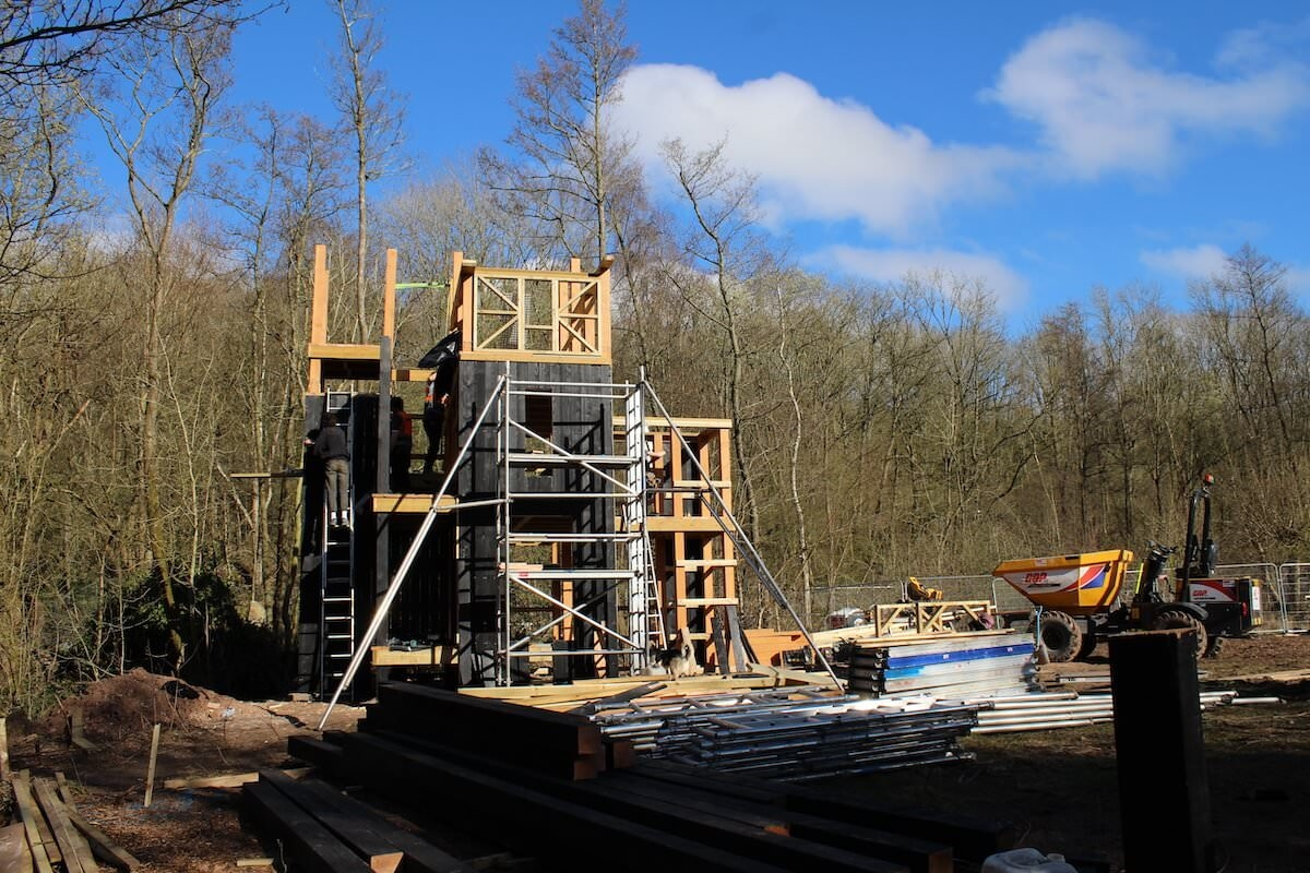 The main structure for Madeley Wood company Adventure Play takes shape at Blists Hill Victorian Village