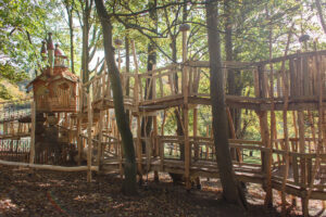 The winding raised walkways leading to the tower at Tumblestone Hollow