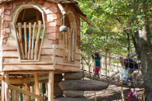 There are places for parents and children to play and hang out together at Tumblestone Hollow