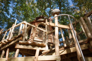 View upwards to the central tower at Tumblestone Hollow Play at Stonor Park Oxfordshire