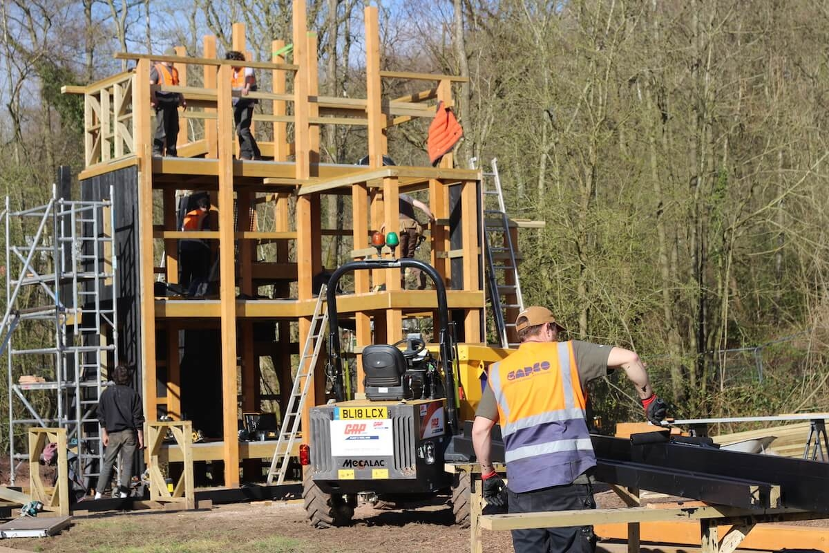 You also start to understand the scale of the build when the team are seen on it - it is three stories tall already with more to come