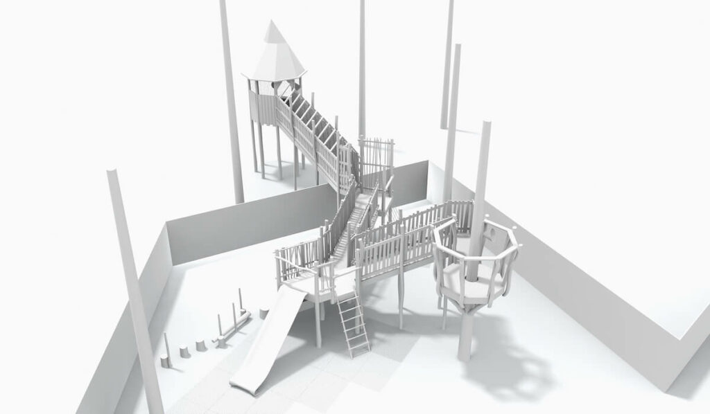 CGI Model of adventure play at Eccles School by CAP.Co Creating Adventurous places