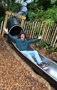 Andy Day at The Madeley Wood Co. Outdoor Adventure by CAP.Co on the big slide