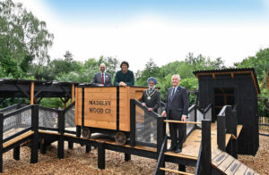 Andy Day and some of the dignitaries on the Toddler Play at The Madeley Wood Co. Outdoor Adventure by CAP.Co