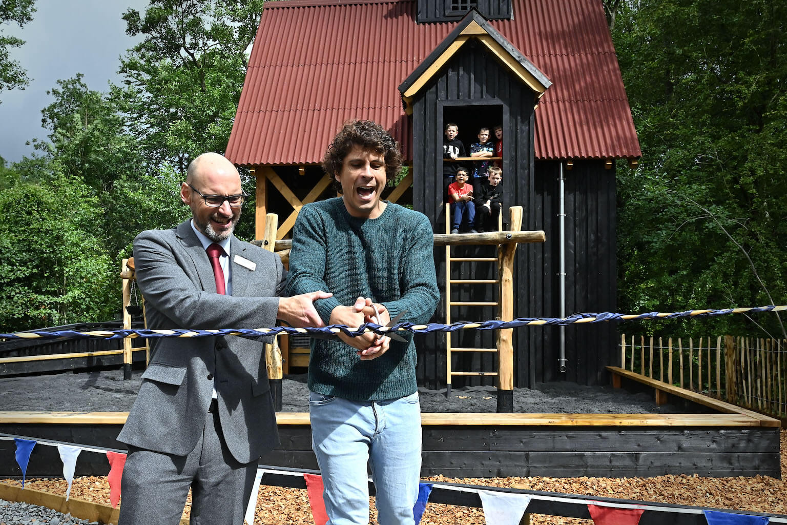 Andy Day and Nick Ralls Cut the ribbon to open The Madeley Wood Co. Outdoor Adventure by CAP.Co