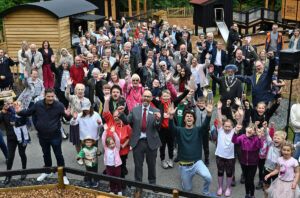 The gathered crowd for the official opening of The Madeley Wood Co. Outdoor Adventure by CAP.Co